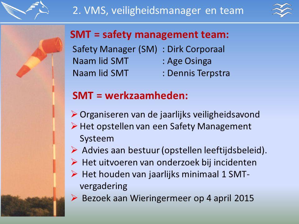 SMT = safety management team: Safety Manager (SM): Dirk Corporaal Naam lid SMT: Age Osinga Naam lid SMT : Dennis Terpstra SMT = werkzaamheden:  Organ