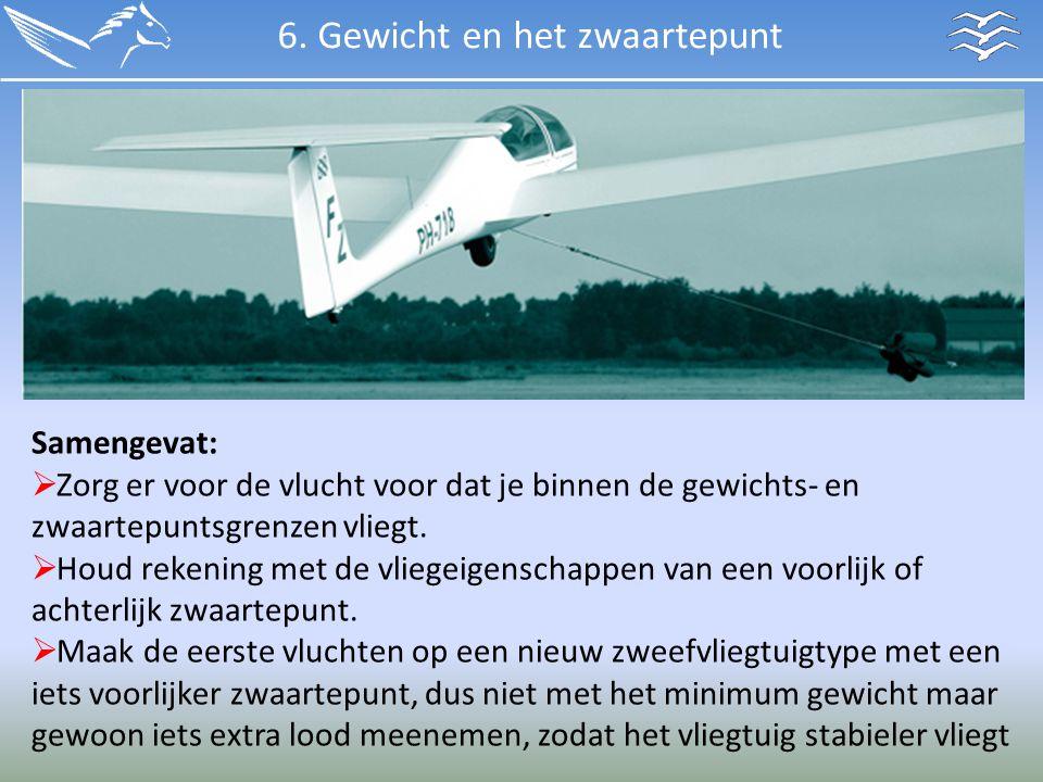 Samengevat:  Zorg er voor de vlucht voor dat je binnen de gewichts- en zwaartepuntsgrenzen vliegt.  Houd rekening met de vliegeigenschappen van een