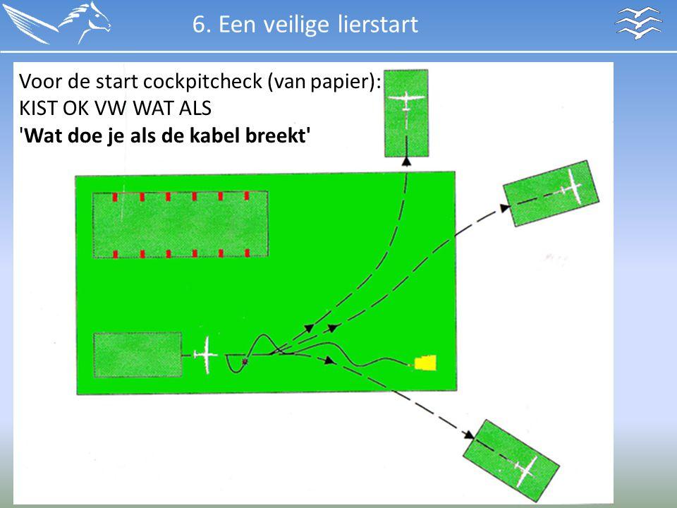 6. Een veilige lierstart Voor de start cockpitcheck (van papier): KIST OK VW WAT ALS 'Wat doe je als de kabel breekt'