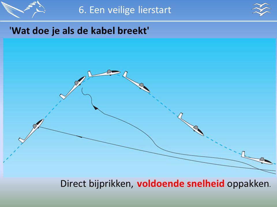6. Een veilige lierstart 'Wat doe je als de kabel breekt' Direct bijprikken, voldoende snelheid oppakken.