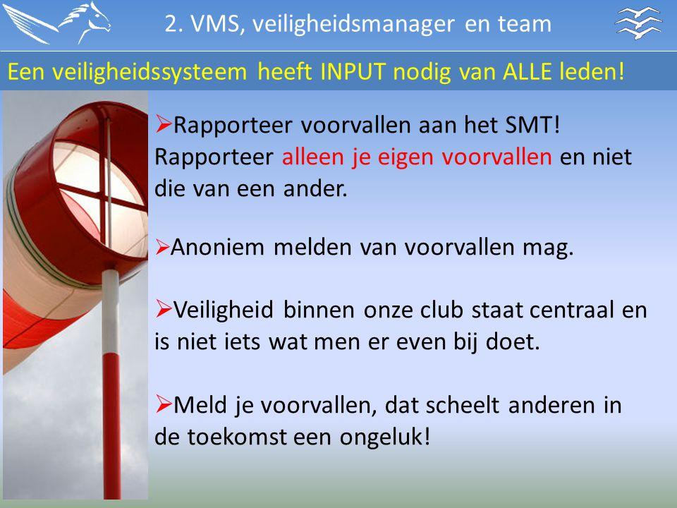  Rapporteer voorvallen aan het SMT! Rapporteer alleen je eigen voorvallen en niet die van een ander.  Anoniem melden van voorvallen mag.  Veilighei
