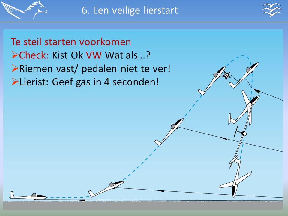 Te steil starten voorkomen  Check: Kist Ok VW Wat als…?  Riemen vast/ pedalen niet te ver!  Lierist: Geef gas in 4 seconden! 6. Een veilige liersta