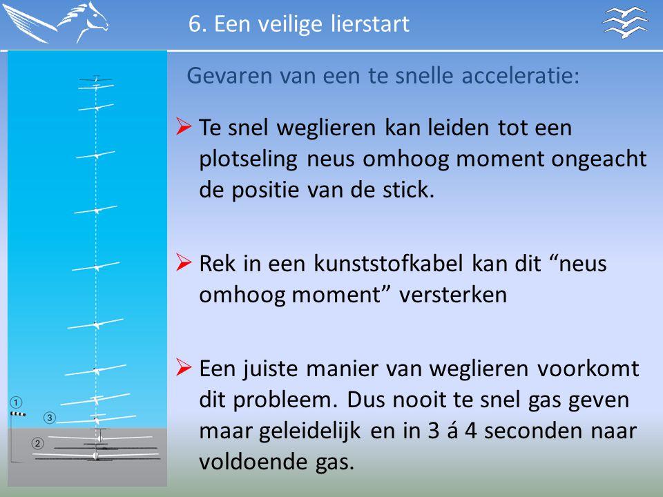 Gevaren van een te snelle acceleratie:  Te snel weglieren kan leiden tot een plotseling neus omhoog moment ongeacht de positie van de stick.  Rek in