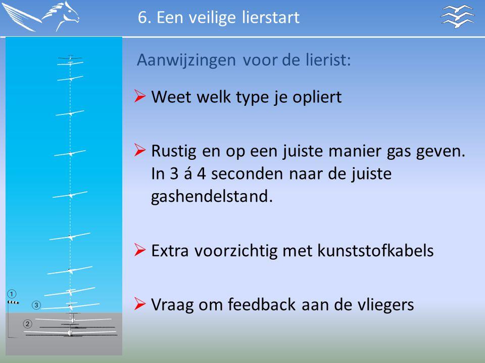Aanwijzingen voor de lierist:  Weet welk type je opliert  Rustig en op een juiste manier gas geven. In 3 á 4 seconden naar de juiste gashendelstand.