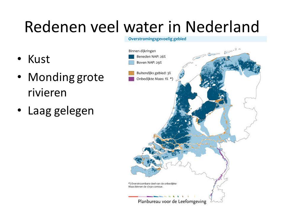 Redenen veel water in Nederland Kust Monding grote rivieren Laag gelegen