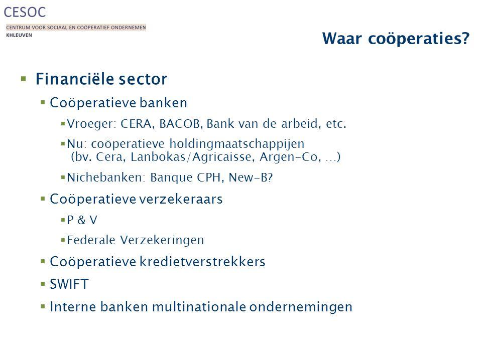 Waar coöperaties?  Financiële sector  Coöperatieve banken  Vroeger: CERA, BACOB, Bank van de arbeid, etc.  Nu: coöperatieve holdingmaatschappijen