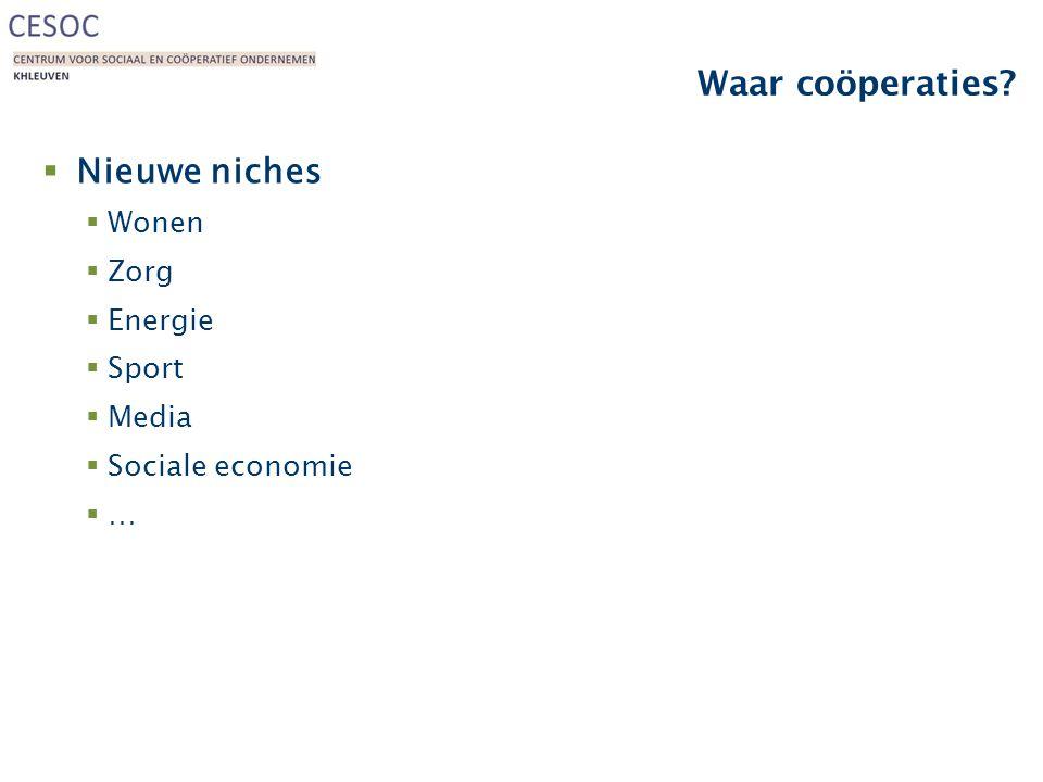 Waar coöperaties?  Nieuwe niches  Wonen  Zorg  Energie  Sport  Media  Sociale economie ……