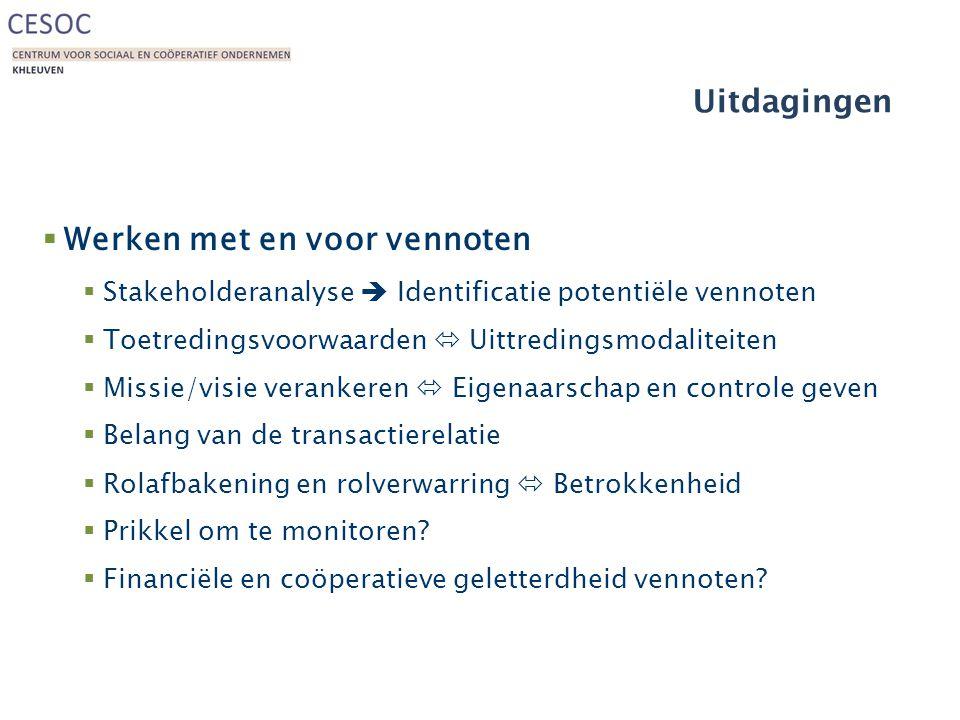 Uitdagingen  Werken met en voor vennoten  Stakeholderanalyse  Identificatie potentiële vennoten  Toetredingsvoorwaarden  Uittredingsmodaliteiten