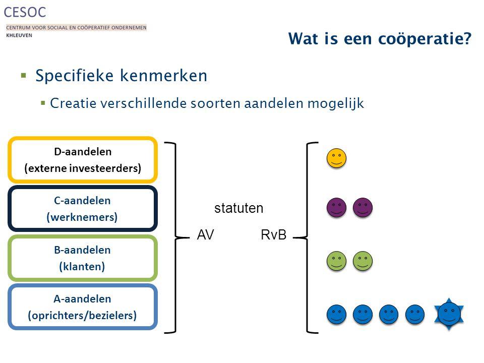 Wat is een coöperatie?  Specifieke kenmerken  Creatie verschillende soorten aandelen mogelijk A-aandelen (oprichters/bezielers) B-aandelen (klanten)