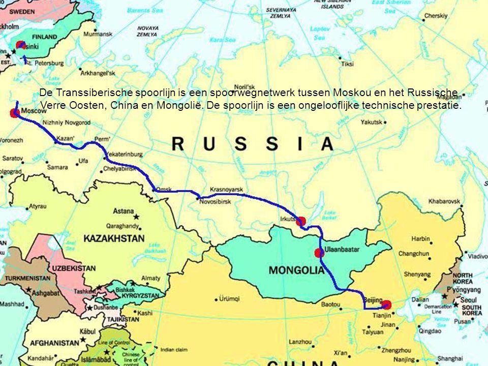 De Transsiberische spoorlijn is een spoorwegnetwerk tussen Moskou en het Russische Verre Oosten, China en Mongolië.