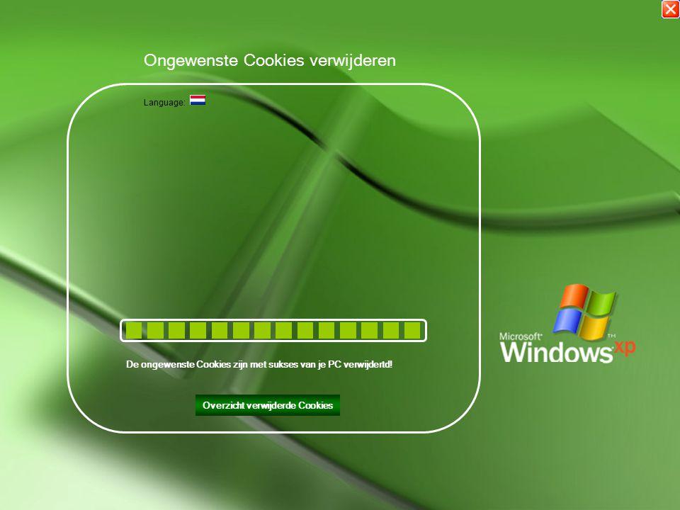 Bezig met het verwijderen van de ongewenste Cookies op Uw PC Ongewenste Cookies verwijderen Language: