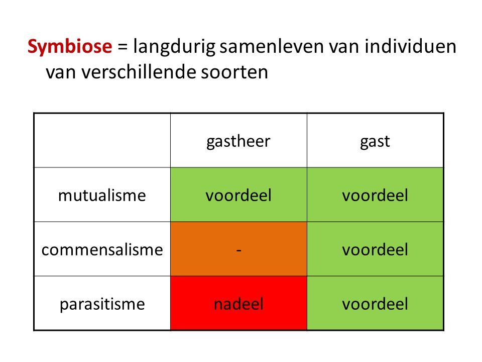 gastheergast mutualismevoordeel commensalisme-voordeel parasitismenadeelvoordeel Symbiose = langdurig samenleven van individuen van verschillende soor