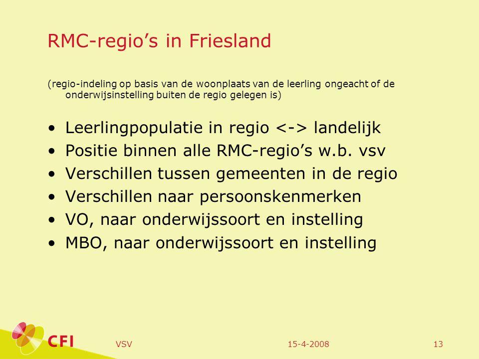 15-4-2008VSV13 RMC-regio's in Friesland (regio-indeling op basis van de woonplaats van de leerling ongeacht of de onderwijsinstelling buiten de regio