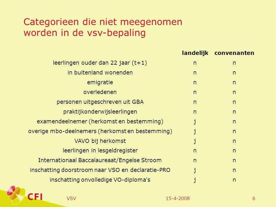 15-4-2008VSV7 7 Landelijk Berekening landelijke cijfers Ontwikkeling aantal nieuwe vsv-ers gerelateerd aan de Nederlandse doelstelling Geografische kaart Voorbeeld van samenhang met andere maatschappelijke factoren