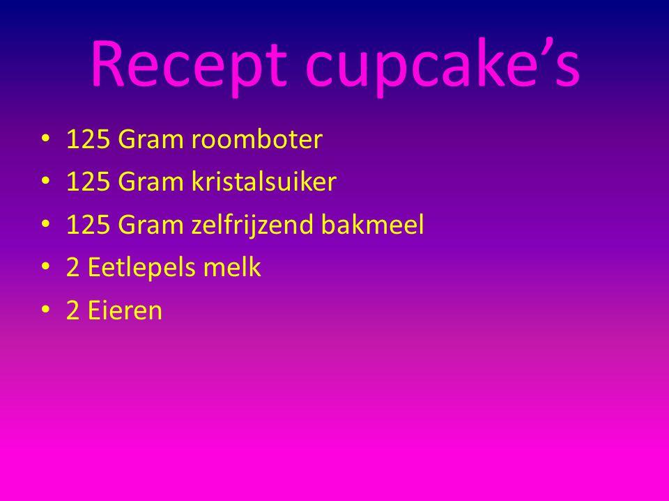 Recept cupcake's 125 Gram roomboter 125 Gram kristalsuiker 125 Gram zelfrijzend bakmeel 2 Eetlepels melk 2 Eieren