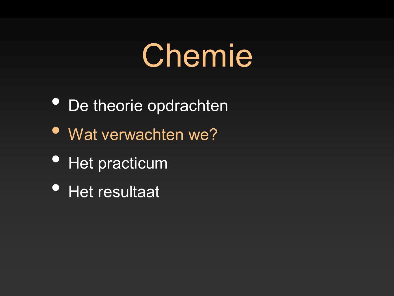 Chemie De theorie opdrachten Wat verwachten we? Het practicum Het resultaat