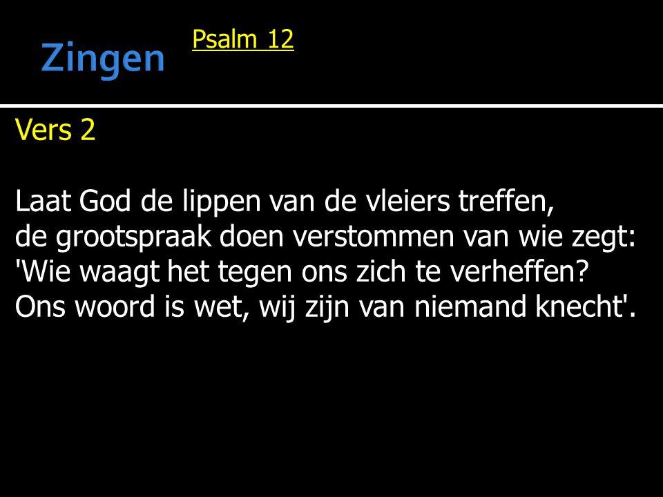 Psalm 12 Vers 2 Laat God de lippen van de vleiers treffen, de grootspraak doen verstommen van wie zegt: 'Wie waagt het tegen ons zich te verheffen? On