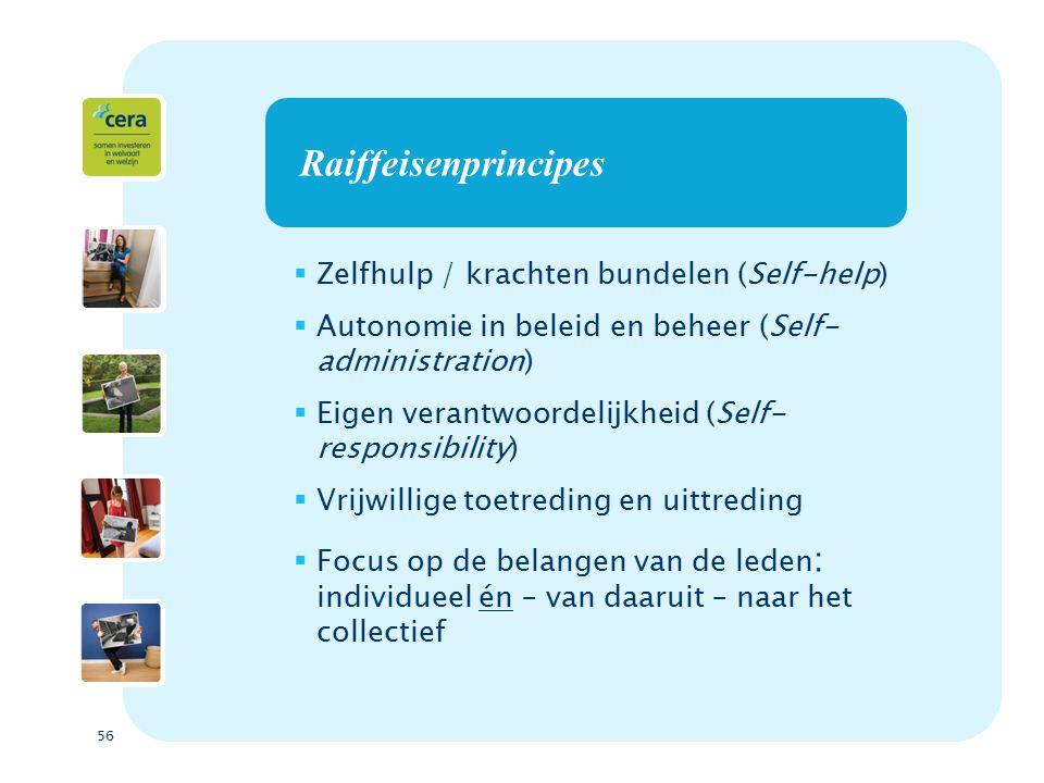 56 Raiffeisenprincipes  Zelfhulp / krachten bundelen (Self-help)  Autonomie in beleid en beheer (Self- administration)  Eigen verantwoordelijkheid (Self- responsibility)  Vrijwillige toetreding en uittreding  Focus op de belangen van de leden : individueel én – van daaruit – naar het collectief