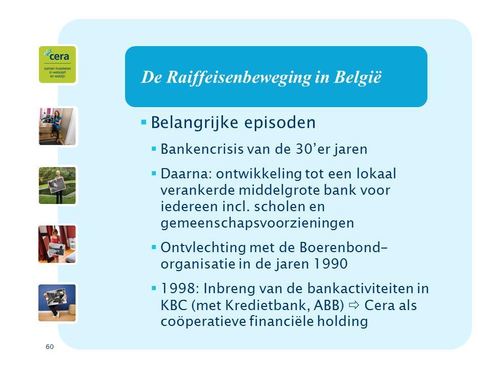 60 De Raiffeisenbeweging in België  Belangrijke episoden  Bankencrisis van de 30'er jaren  Daarna: ontwikkeling tot een lokaal verankerde middelgrote bank voor iedereen incl.