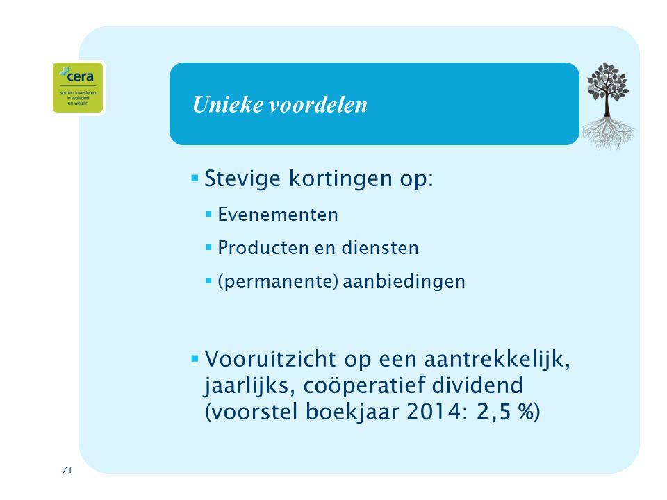 71 Unieke voordelen  Stevige kortingen op:  Evenementen  Producten en diensten  (permanente) aanbiedingen  Vooruitzicht op een aantrekkelijk, jaarlijks, coöperatief dividend (voorstel boekjaar 2014: 2,5 %)