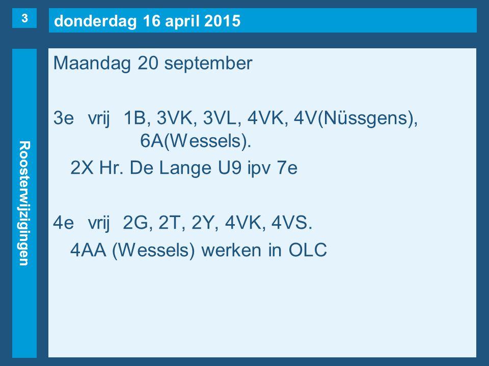 donderdag 16 april 2015 Roosterwijzigingen Maandag 20 september 3evrij1B, 3VK, 3VL, 4VK, 4V(Nüssgens), 6A(Wessels).