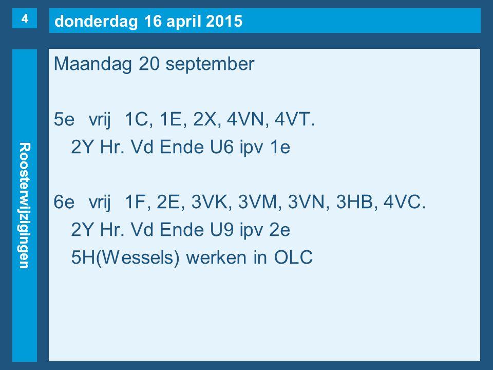 donderdag 16 april 2015 Roosterwijzigingen Maandag 20 september 7evrij1C, 2A, 2X(naar 3e), 4V(Nüssgens), 4AA.