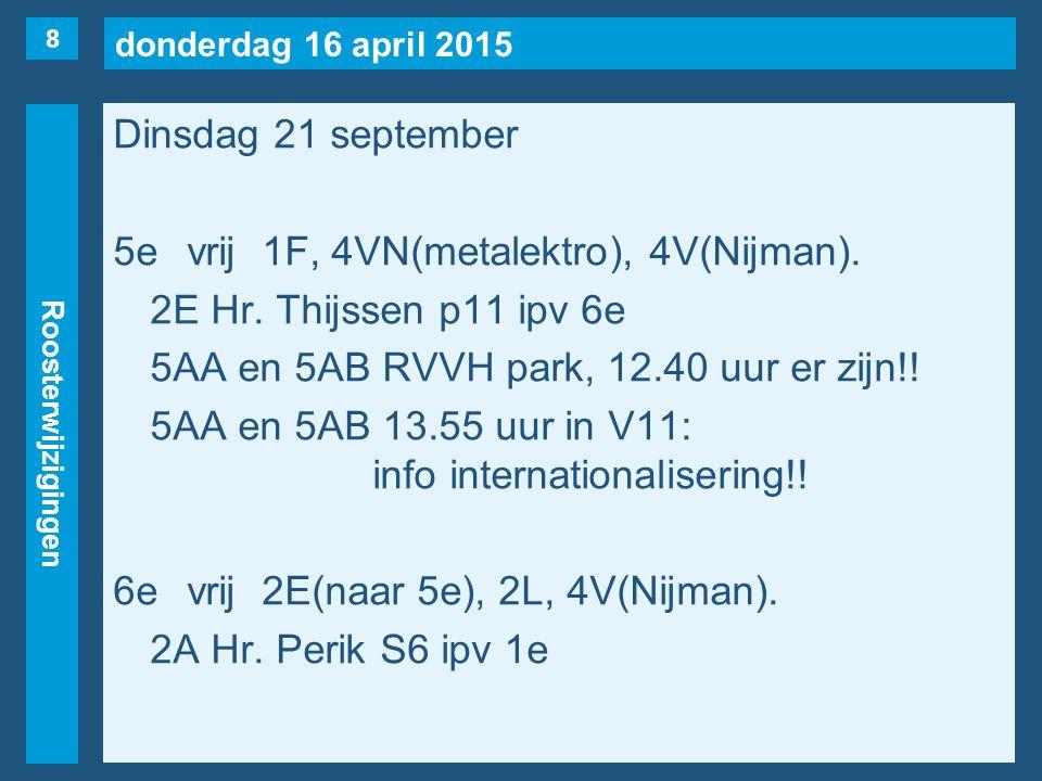 donderdag 16 april 2015 Roosterwijzigingen Dinsdag 21 september 7evrij1A, 2B(naar 3e), 2G. 8e 9