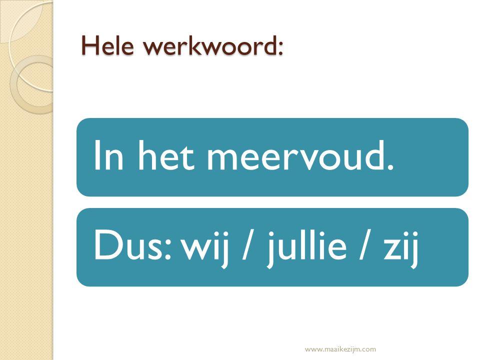Hele werkwoord: In het meervoud.Dus: wij / jullie / zij www.maaikezijm.com