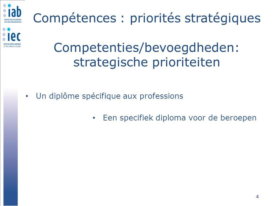 Compétences : priorités stratégiques Competenties/bevoegdheden: strategische prioriteiten Un diplôme spécifique aux professions 4 Een specifiek diplom