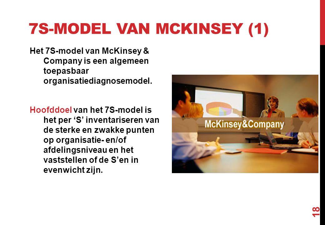 7S-MODEL VAN MCKINSEY (1) Het 7S-model van McKinsey & Company is een algemeen toepasbaar organisatiediagnosemodel. Hoofddoel van het 7S-model is het p
