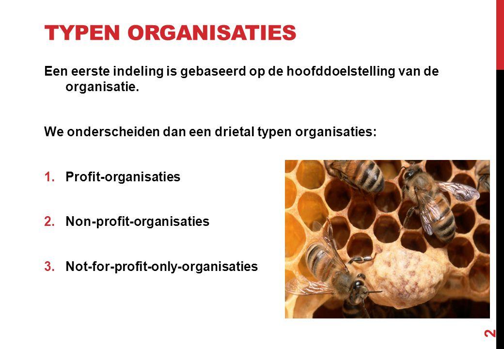 TYPEN ORGANISATIES Een eerste indeling is gebaseerd op de hoofddoelstelling van de organisatie. We onderscheiden dan een drietal typen organisaties: 1