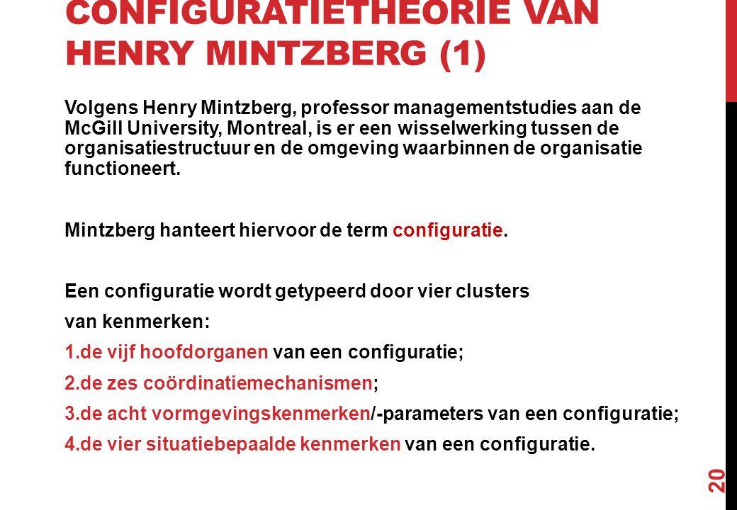 CONFIGURATIETHEORIE VAN HENRY MINTZBERG (1) Volgens Henry Mintzberg, professor managementstudies aan de McGill University, Montreal, is er een wisselw
