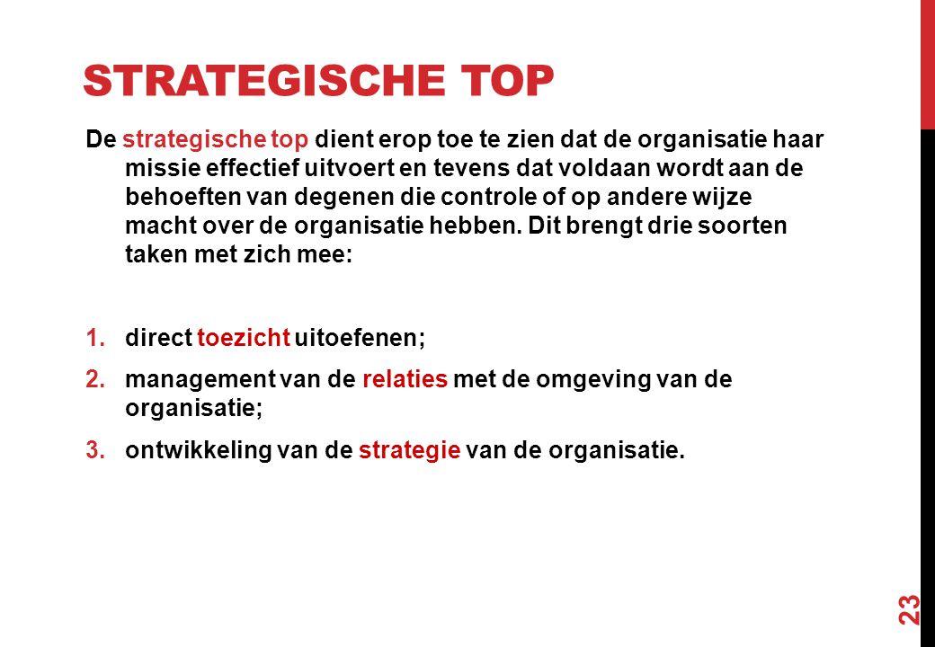 STRATEGISCHE TOP De strategische top dient erop toe te zien dat de organisatie haar missie effectief uitvoert en tevens dat voldaan wordt aan de behoe