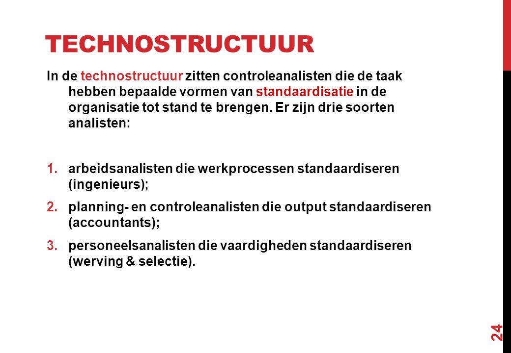 TECHNOSTRUCTUUR In de technostructuur zitten controleanalisten die de taak hebben bepaalde vormen van standaardisatie in de organisatie tot stand te b