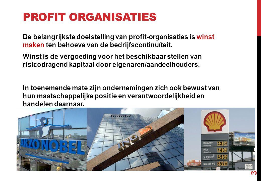 PROFIT ORGANISATIES De belangrijkste doelstelling van profit-organisaties is winst maken ten behoeve van de bedrijfscontinuïteit. Winst is de vergoedi