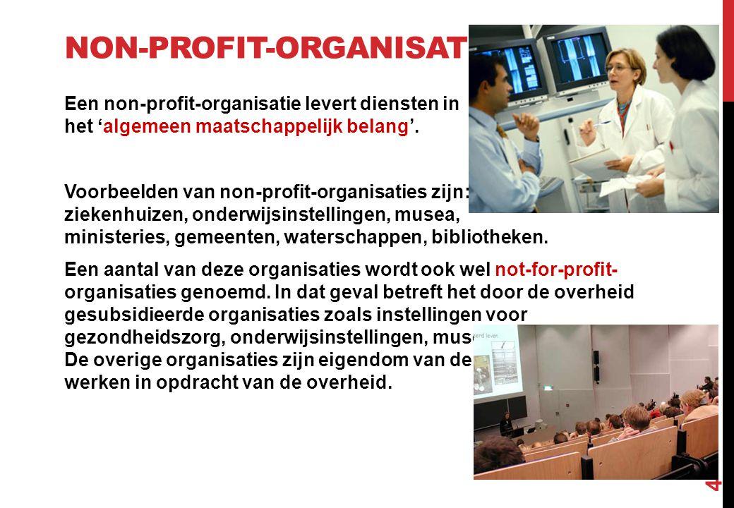 NON-PROFIT-ORGANISATIES Een non-profit-organisatie levert diensten in het 'algemeen maatschappelijk belang'. Voorbeelden van non-profit-organisaties z