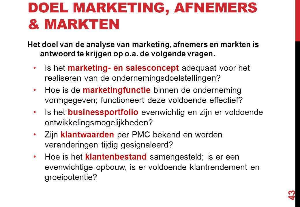 DOEL MARKETING, AFNEMERS & MARKTEN Het doel van de analyse van marketing, afnemers en markten is antwoord te krijgen op o.a. de volgende vragen. Is he