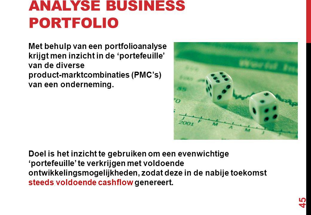 ANALYSE BUSINESS PORTFOLIO Met behulp van een portfolioanalyse krijgt men inzicht in de 'portefeuille' van de diverse product-marktcombinaties (PMC's)