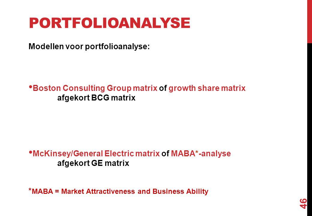 PORTFOLIOANALYSE Modellen voor portfolioanalyse: Boston Consulting Group matrix of growth share matrix afgekort BCG matrix McKinsey/General Electric m