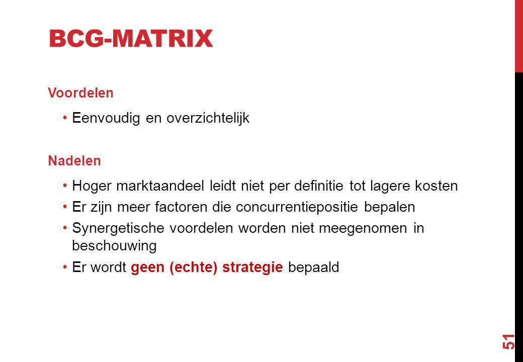 BCG-MATRIX Voordelen Eenvoudig en overzichtelijk Nadelen Hoger marktaandeel leidt niet per definitie tot lagere kosten Er zijn meer factoren die concu