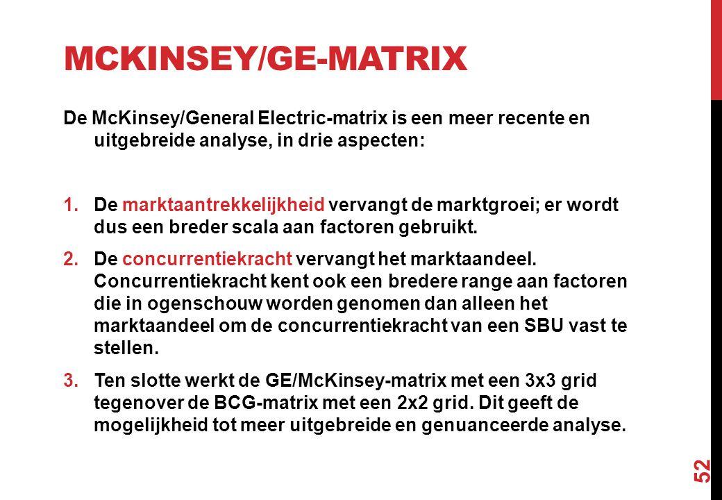 MCKINSEY/GE-MATRIX De McKinsey/General Electric-matrix is een meer recente en uitgebreide analyse, in drie aspecten: 1.De marktaantrekkelijkheid verva