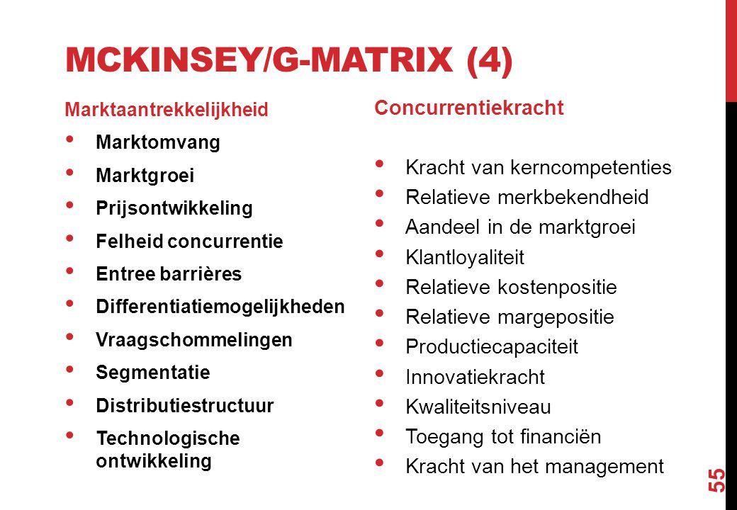 MCKINSEY/G-MATRIX (4) Marktaantrekkelijkheid Marktomvang Marktgroei Prijsontwikkeling Felheid concurrentie Entree barrières Differentiatiemogelijkhede