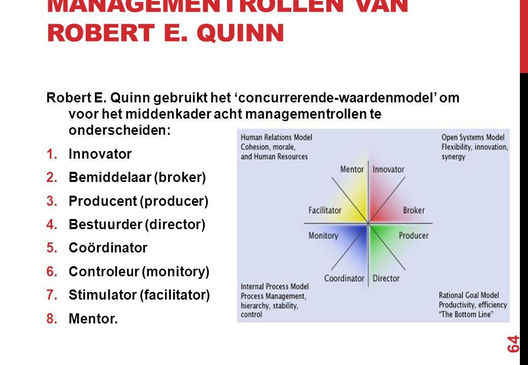 MANAGEMENTROLLEN VAN ROBERT E. QUINN Robert E. Quinn gebruikt het 'concurrerende-waardenmodel' om voor het middenkader acht managementrollen te onders