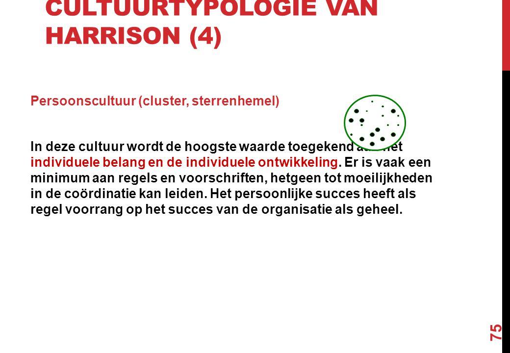 CULTUURTYPOLOGIE VAN HARRISON (4) Persoonscultuur (cluster, sterrenhemel) In deze cultuur wordt de hoogste waarde toegekend aan het individuele belang