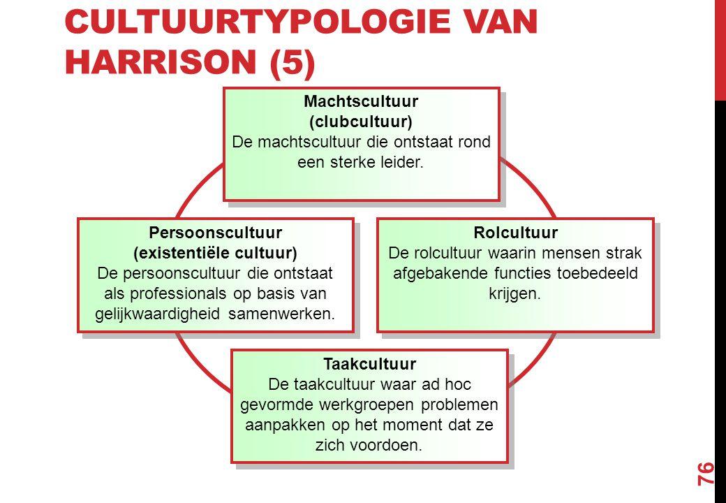 CULTUURTYPOLOGIE VAN HARRISON (5) 76 Machtscultuur (clubcultuur) De machtscultuur die ontstaat rond een sterke leider. Machtscultuur (clubcultuur) De
