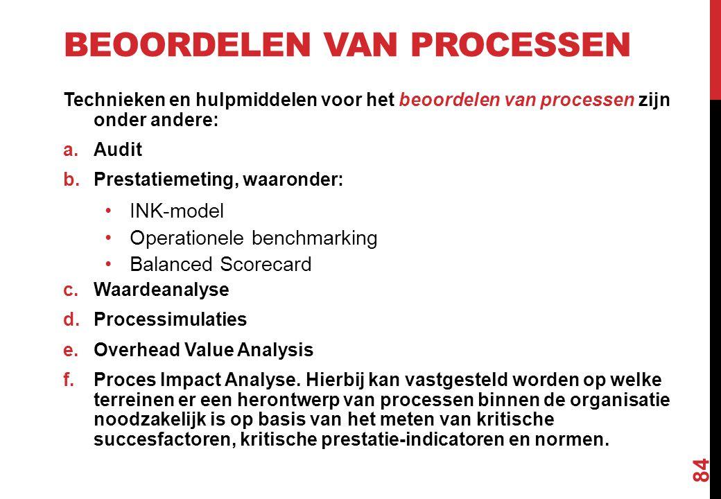 BEOORDELEN VAN PROCESSEN Technieken en hulpmiddelen voor het beoordelen van processen zijn onder andere: a.Audit b.Prestatiemeting, waaronder: INK-mod