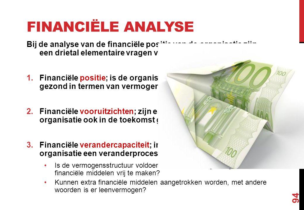 FINANCIËLE ANALYSE Bij de analyse van de financiële positie van de organisatie zijn een drietal elementaire vragen van belang: 1.Financiële positie; i