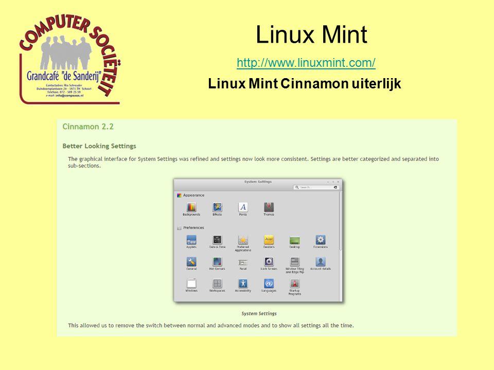 Linux Mint http://www.linuxmint.com/ Linux Mint Cinnamon uiterlijk