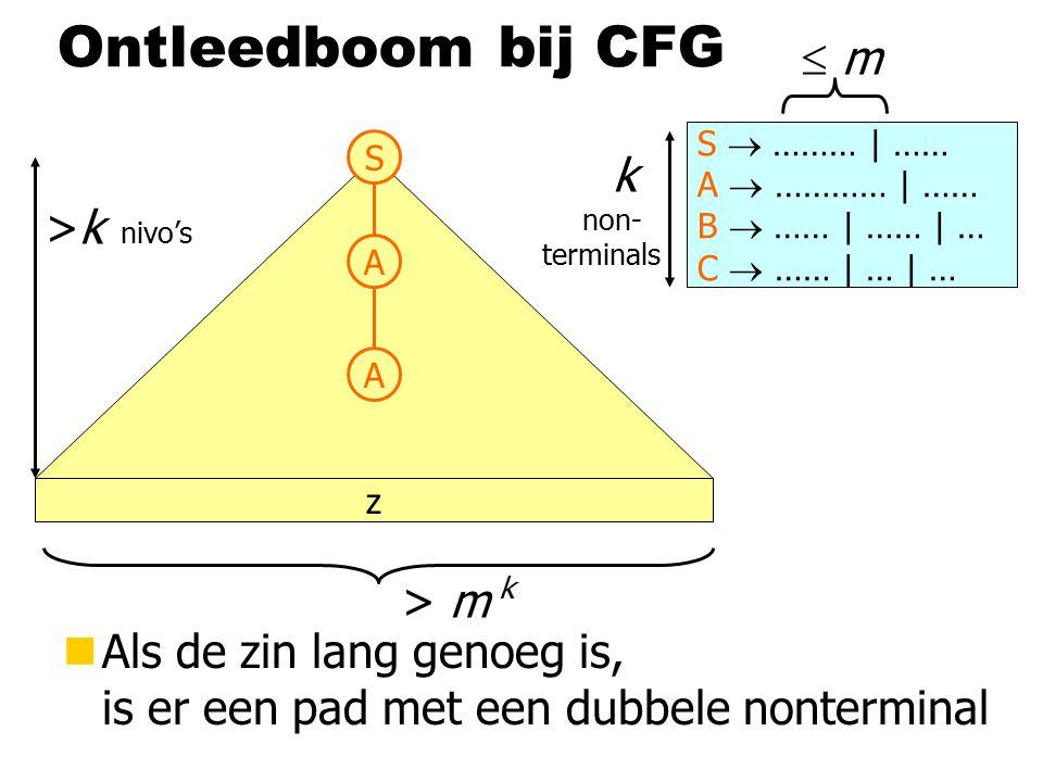 Ontleedboom bij CFG z S  ……… | …… A  ………… | …… B  …… | …… | … C  …… | … | …  m m >k nivo's > m k k non- terminals S A A nAls de zin lang genoeg is, is er een pad met een dubbele nonterminal