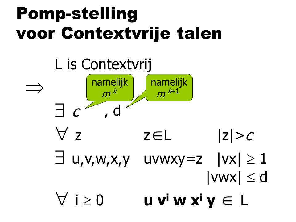 Pomp-stelling voor Contextvrije talen L is Contextvrij   c  zz  L |z|>c  u,v,w,x,yuvwxy=z |vx|  1  i  0u v i w x i y  L namelijk m k |vwx| 